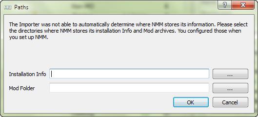 NMM Import dialog box.